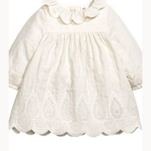 H&M dress embroidery collar scalloped 9-12